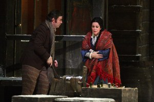 Massimo Cavalletti as Marcello and Angela Gheorghiu as Mimì in La bohème, The Royal Opera © ROH / Catherine Ashmore 2014