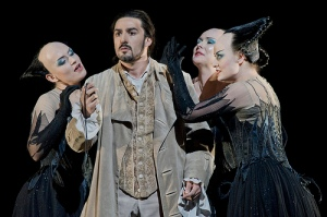 Charles Castronovo as Tamino, Gaynor Keeble as Third Lady, Anita Watson as First Lady and Hanna Hipp as Second Lady in Die Zauberflöte