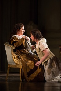 Rebecca Evans as Countess Almaviva and Anna Bonitatibus as Cherubino in Le nozze di Figaro, The Royal Opera © ROH / Mark Douet 2014