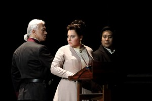 Dmitri Hvorostovsky as Renato, Liudmyla Monastyrska as Amelia and Jihoon Kim as Tom in Un ballo in maschera © ROH. Photographer Catherine Ashmore