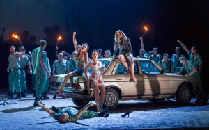 Clare Presland, Rhian Lois, Justina Gringyte & the Chorus of English National Opera in Carmen at ENO © Alastair Muir