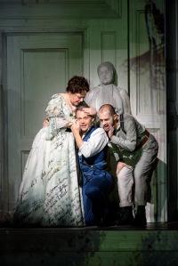 Dorothea Röschmann as Elvira,  Christopher Maltman as Giovanni & Alex Esposito as Leporello © ROH Photographer Bill Cooper