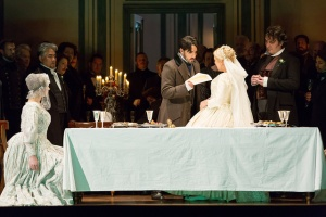 Youn Kwangchul, Charles Castronovo, Diana Damrau, Ludovic Tézier, Royal Opera Chorus © ROH/Stephen Cummiskey