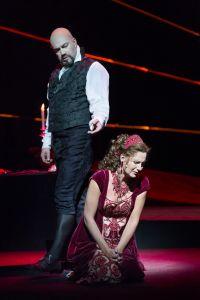 As Scarpia with Ylva Kihlberg as Tosca in Copenhagen. Photo: © Miklos Szabo