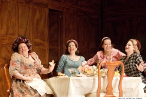 As Mistress Quickly in Falstaff at the Royal Opera House in 2012.  With Ana María Martínez (as Alice Ford), Amanda Forsythe (as Nanetta) and Kai Rüütel (as Meg Page).  Photo:  © ROH / Catherine Ashmore.